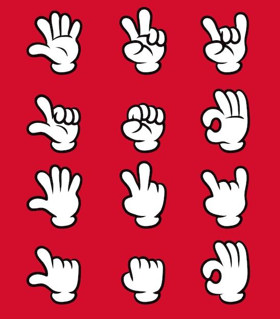Sistema blanco de la colección del gesto del finger de la mano cinco del guante de la historieta. Vector Premium