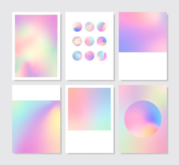 Sistema colorido del diseño del fondo del gradiente holográfico vector gratuito