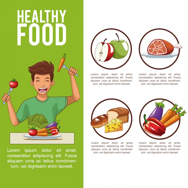 Sistema Digestivo Y Nutrición Con Dibujos Animados De Hombre