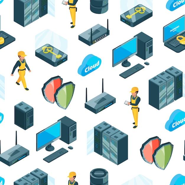 Sistema electrónico de iconos de centro de datos patrón o ilustración Vector Premium