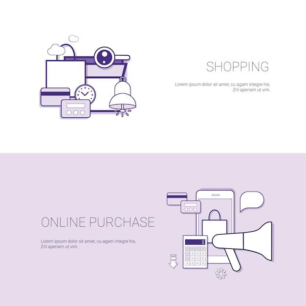 Sistema de fondo en línea de la plantilla del concepto del negocio de las banderas de la compra que hace compras con el espacio de la copia Vector Premium