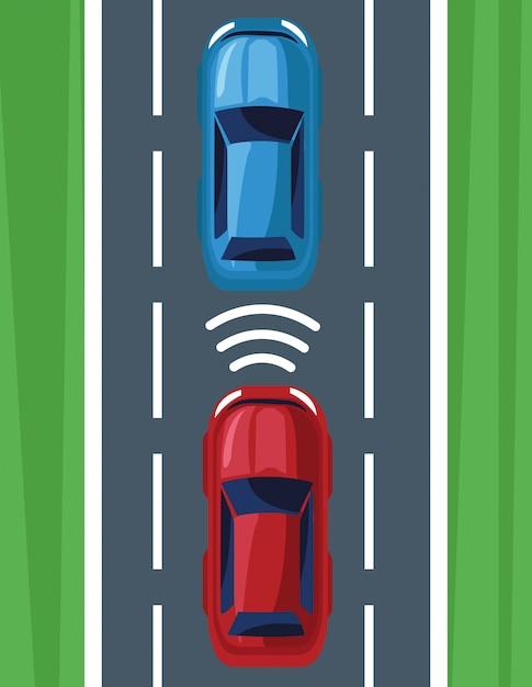 Sistema gps de localización de vehículos. vector gratuito