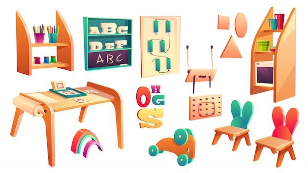 Sistema del montessori del vector, elementos para la escuela primaria aislados en el fondo blanco. jardín de infantes para vector gratuito
