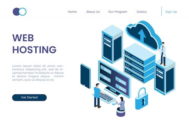 Sistema de protección en el servidor, protección de datos de red en estilo isométrico de ilustración 3d Vector Premium