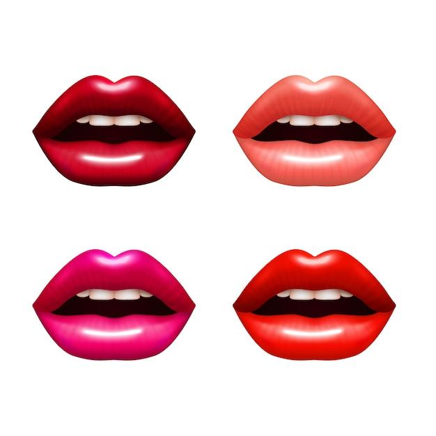 Sistema realista de los labios de la mujer con el ejemplo aislado brillante del vector del colorante vector gratuito