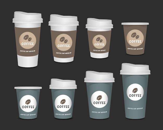 Sistema realista de la taza de café del papel en blanco 3d aislado en el fondo blanco Vector Premium