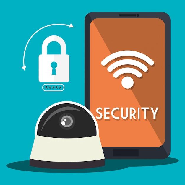 Sistema de seguridad y tecnologías vector gratuito