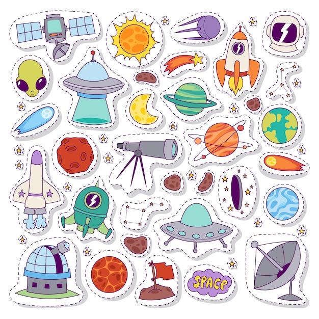 Sistema solar astronomía pegatinas conjunto de vectores. Vector Premium
