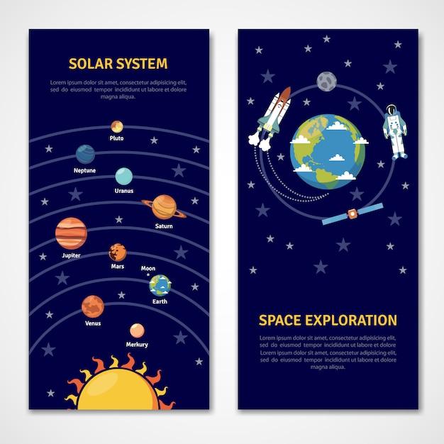 Sistema solar y banners de exploración espacial. vector gratuito