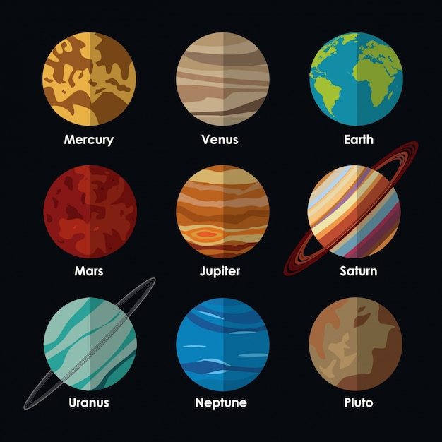 Sistema Solar De Planetas Con Nombres Vector Premium
