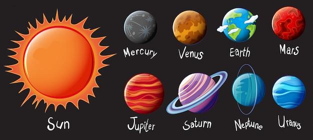El sistema solar vector gratuito