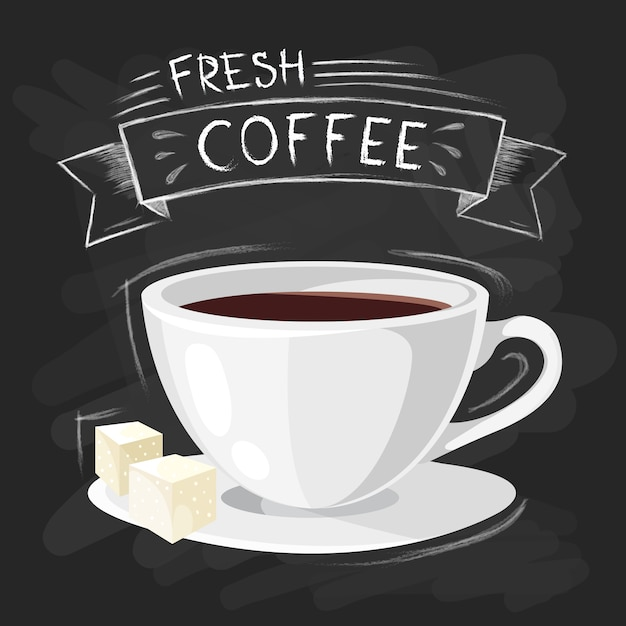El sistema de tamaños de la taza de consumición del café en estilo del vintage estilizó el dibujo con tiza en la pizarra. vector gratuito