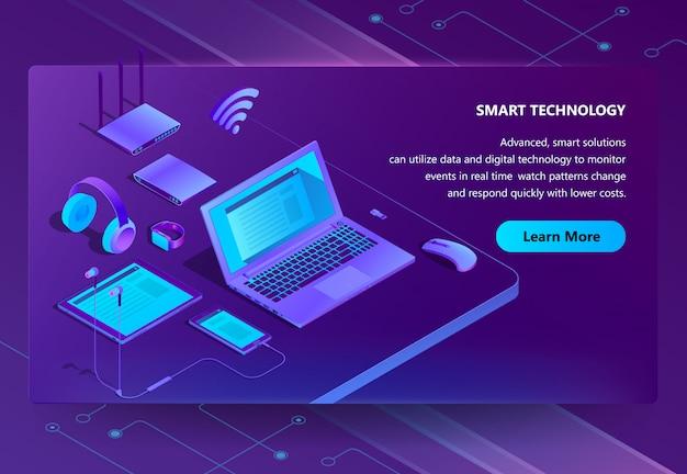 Sitio isométrico 3d con dispositivos inteligentes vector gratuito