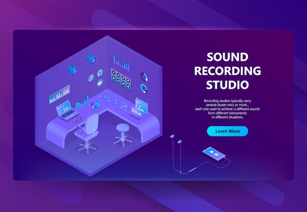 Sitio isométrico 3d para estudio de grabación de sonido. vector gratuito