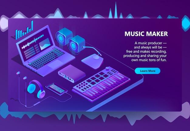 Sitio isométrico 3d para hacer música vector gratuito