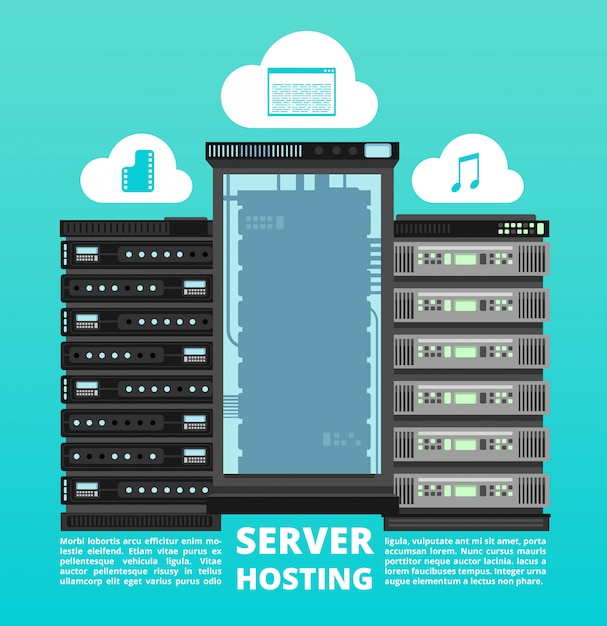 Sitio web de alojamiento en la nube, almacenamiento de datos digitales y soporte de servidor de computadora Vector Premium