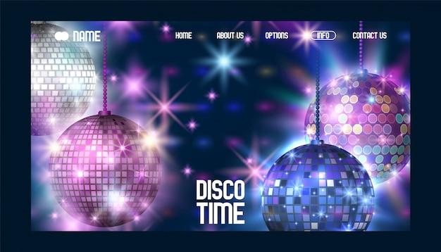 Sitio web de banner de tiempo de discoteca la vida comienza por la noche entretenimiento y evento disco show Vector Premium