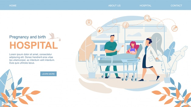 Sitio web embarazo y parto hospital flat. Vector Premium