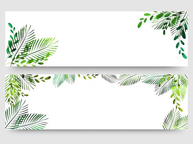 Sitio Web Encabezado O Banner Con Coloridas Hojas Verdes