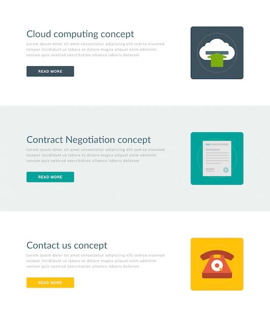 Sitio web encabezados o banners de promoción plantillas y diseño de iconos planos. Vector Premium