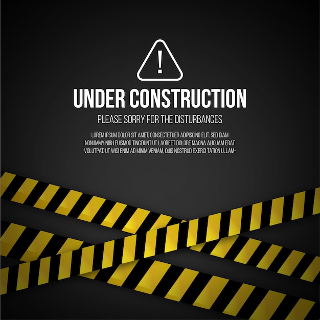 Sitio web bajo fondo de construcción vector gratuito