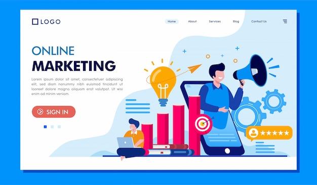 Sitio web de ilustración de página de aterrizaje de marketing en línea Vector Premium