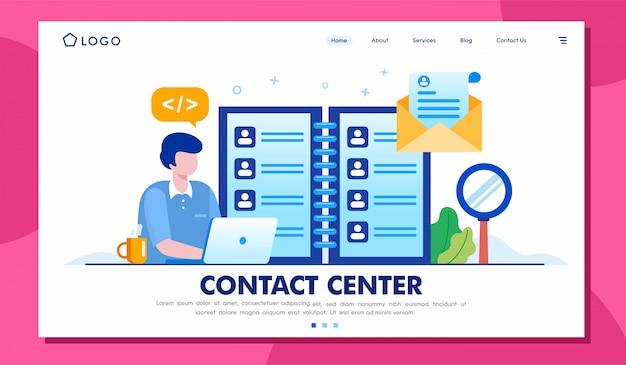 Sitio web de la página de destino del centro de contacto Vector Premium