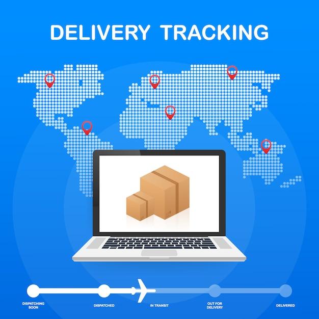 Sitio web de seguimiento de paquetes en la pantalla del portátil Vector Premium