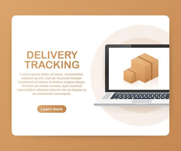 Sitio web de seguimiento de paquetes en la plantilla de la pantalla del portátil Vector Premium