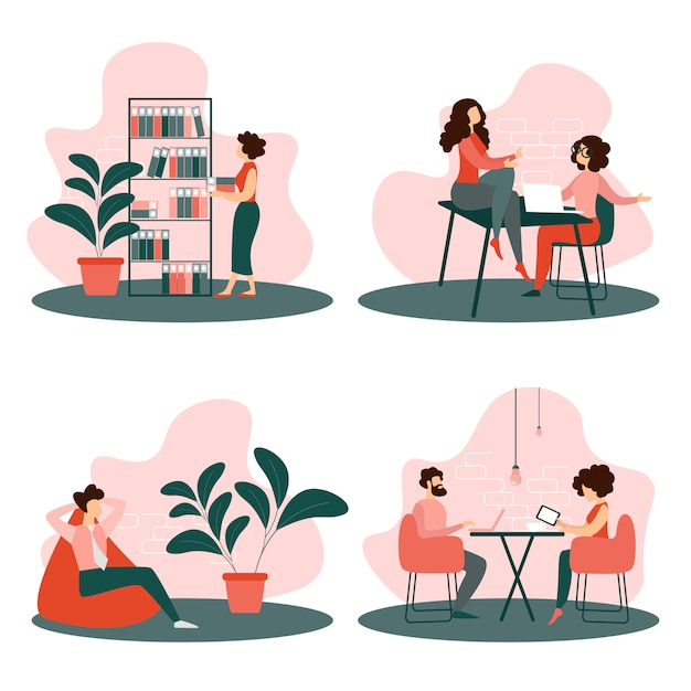 Situaciones de vida de oficina establecen a gente de negocios trabajando Vector Premium