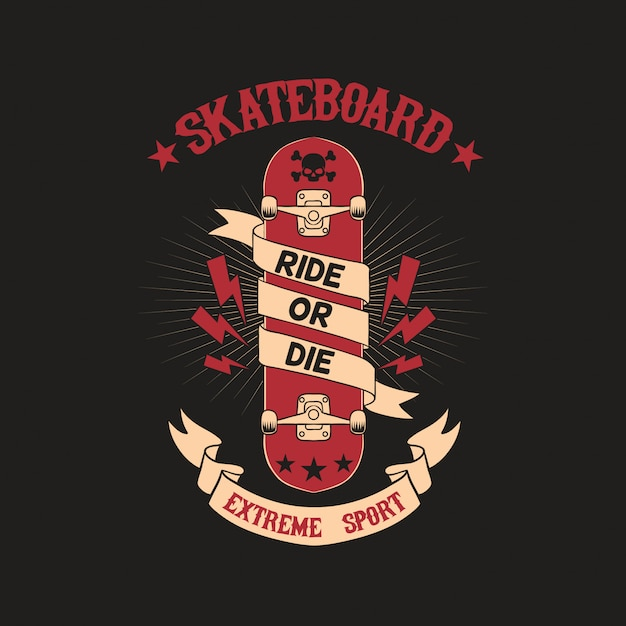 Skateboard club badge illustration Vector Premium