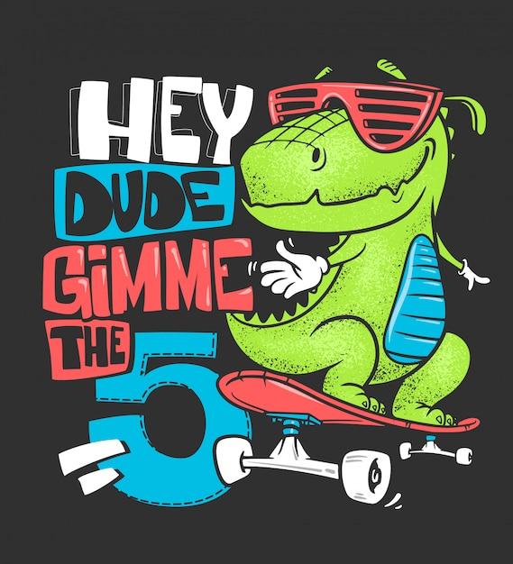 Skateboard dinosaurio camiseta urbana impresión, ilustración Vector Premium