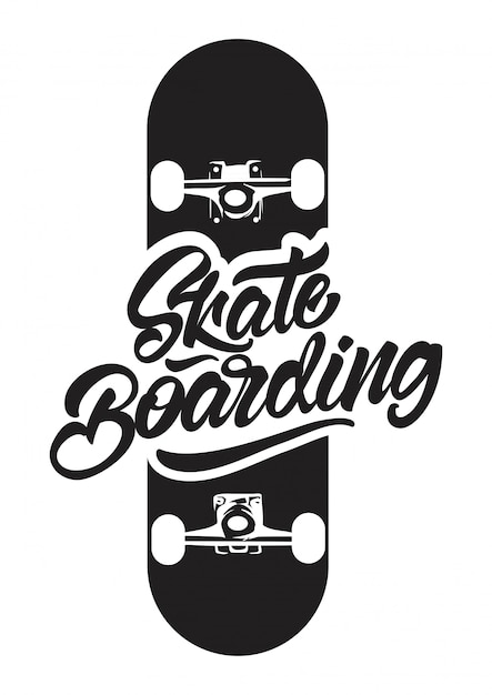 Skateboarding en blanco y negro con ilustración de skate para camiseta estampada. Vector Premium
