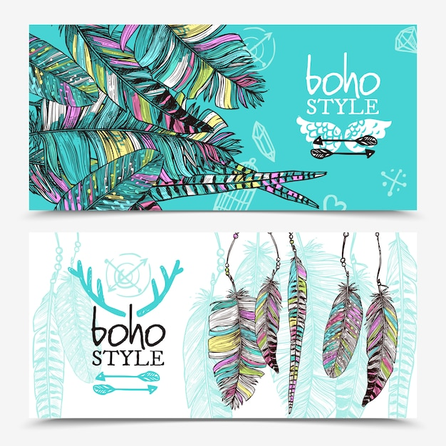 Sketch feathers banners horizontales vector gratuito