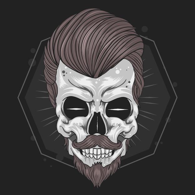 Skull barber mustache vector Vector Premium