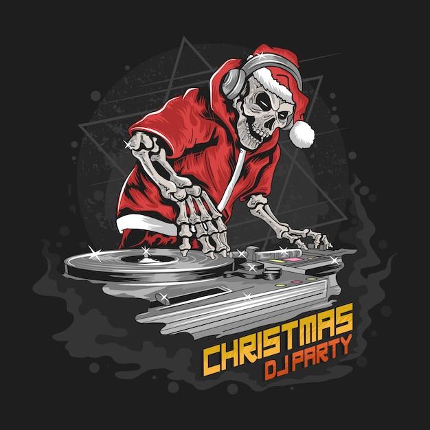 Skull santa claus con chaqueta y sombrero de navidad en la ilustración de dj party Vector Premium