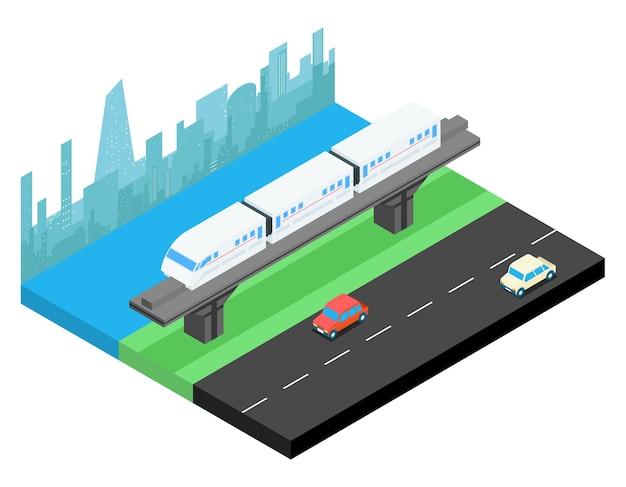 Sky train y el horizonte de la ciudad isométrico. transporte ferroviario, ferrocarril urbano vector gratuito