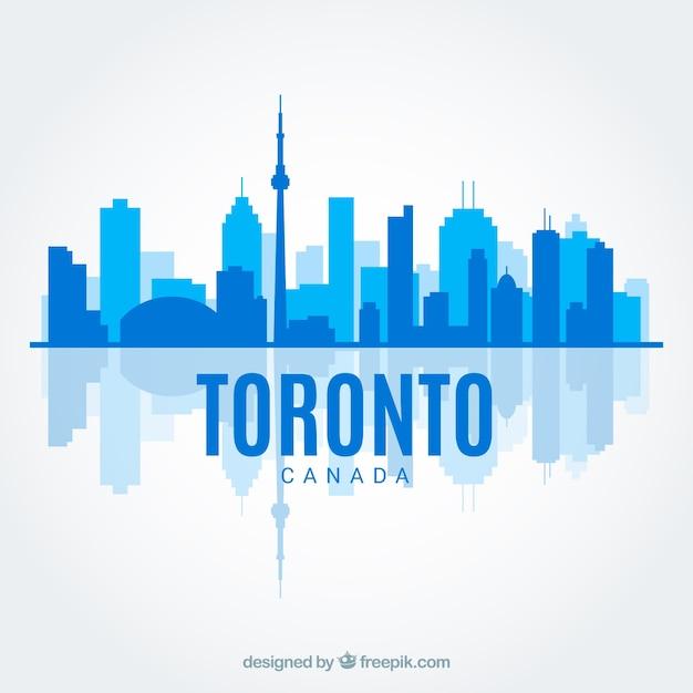 Skyline azul de toronto en estilo flat vector gratuito