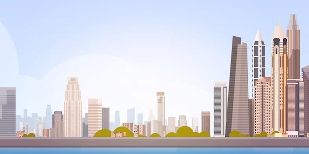 Skyline de fondo de paisaje urbano de vista de rascacielos de la ciudad con espacio de copia Vector Premium