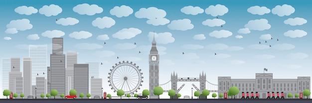Skyline de londres con rascacielos y nubes Vector Premium