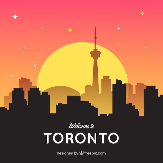 Skyline de toronto con sol vector gratuito
