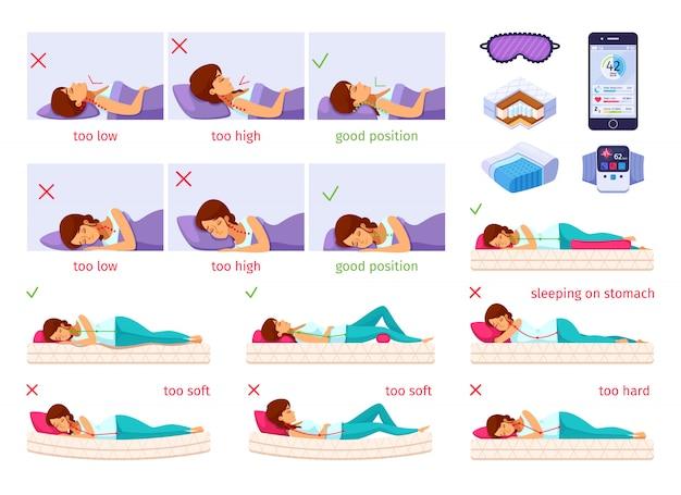 Sleeping nice cartoon set vector gratuito