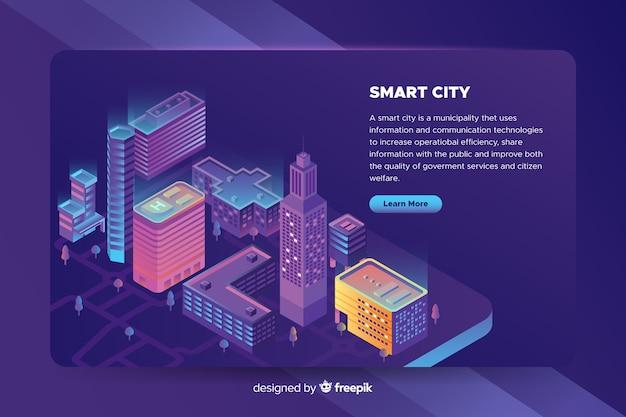 Smart city en isométrico vector gratuito