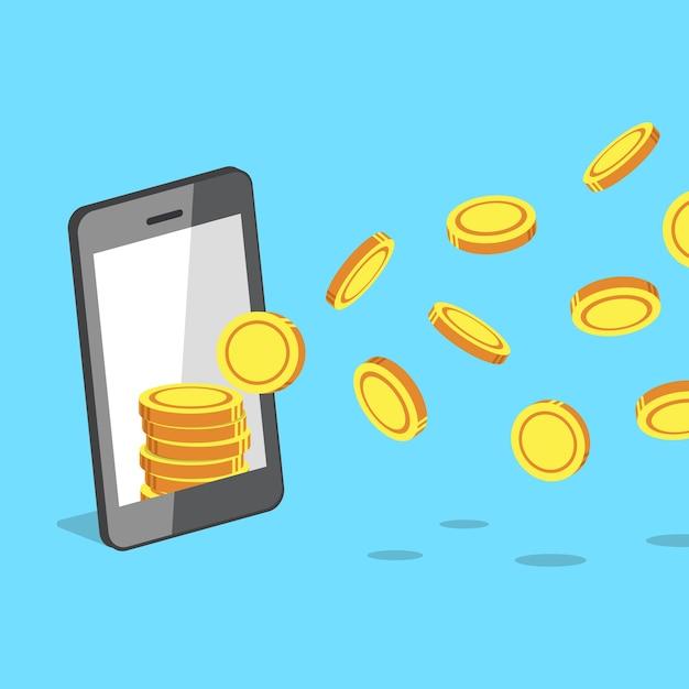 Smartphone atrayendo monedas de dinero Vector Premium