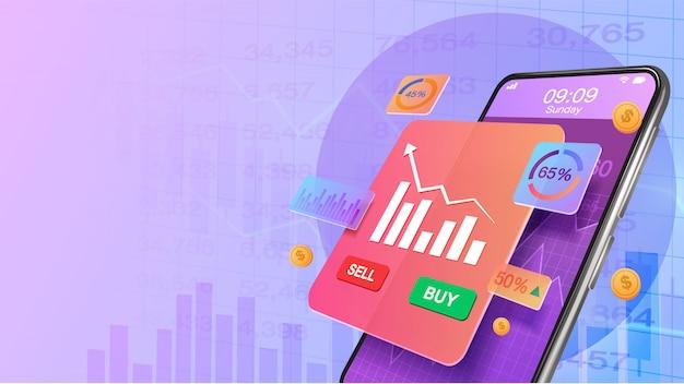 Smartphone con aumento de la cuota de mercado de inversión y tabla de gráfico de crecimiento económico. mercado de valores, crecimiento empresarial, concepto de planificación estratégica. invertir en línea Vector Premium