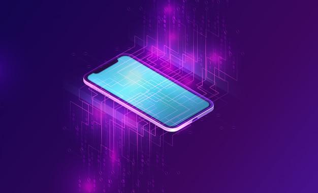 Smartphone con banner isométrico de flujo de datos grandes vector gratuito