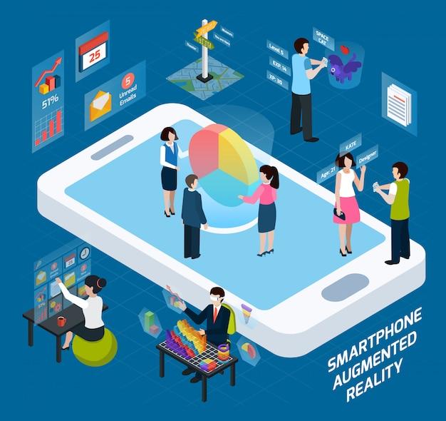 Smartphone composición aumentada isométrica de realidad vector gratuito