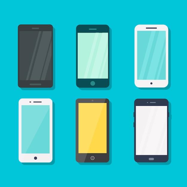 Smartphone en concepto azul del vector del fondo. Vector Premium
