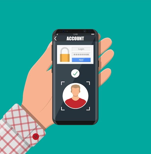 Smartphone desbloqueado por reconocimiento facial Vector Premium
