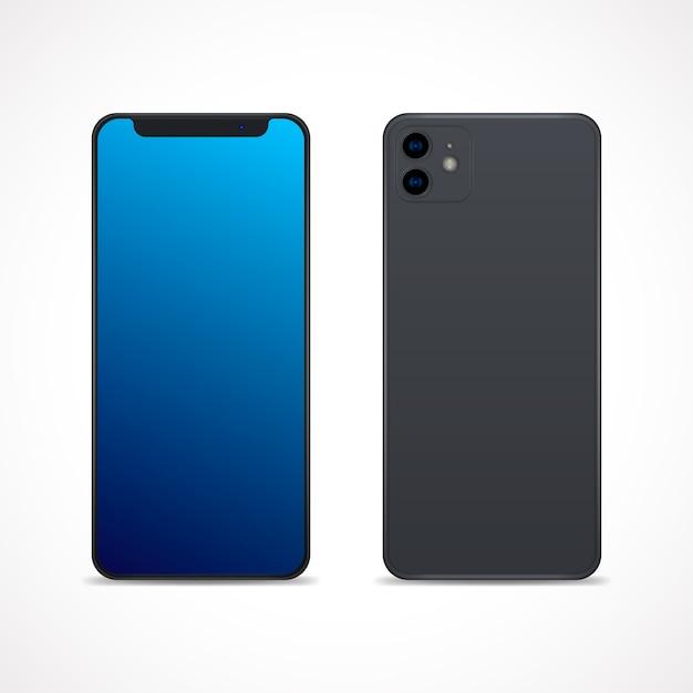 Smartphone de diseño realista con dos cámaras. vector gratuito